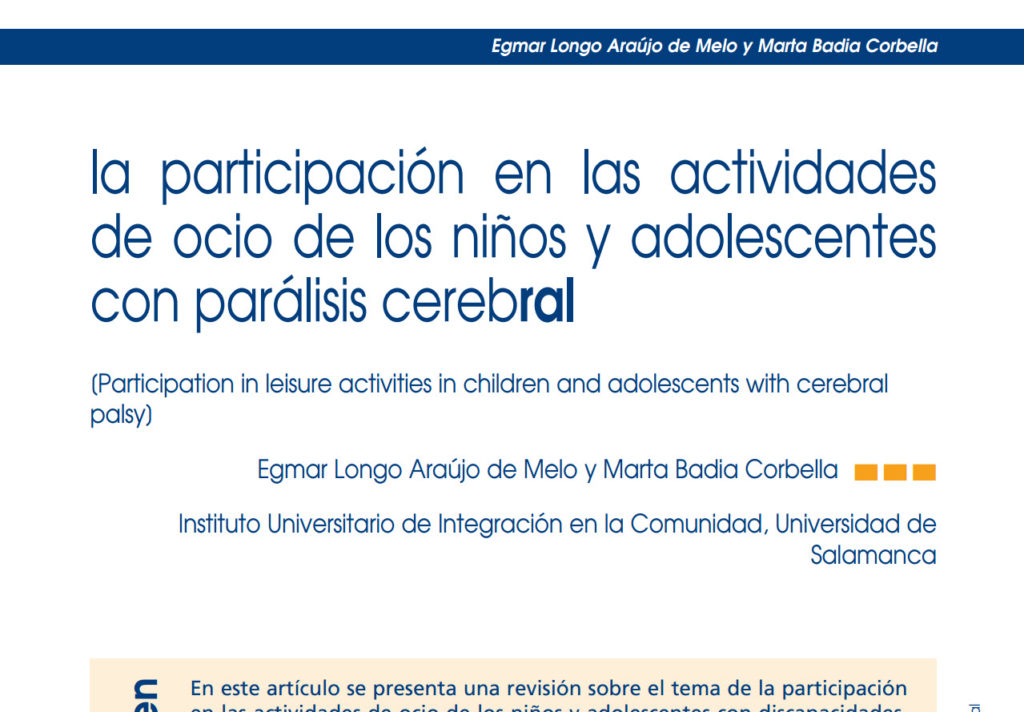 La participación en las actividades de ocio de los niños y adolescentes con Parálisis Cerebral