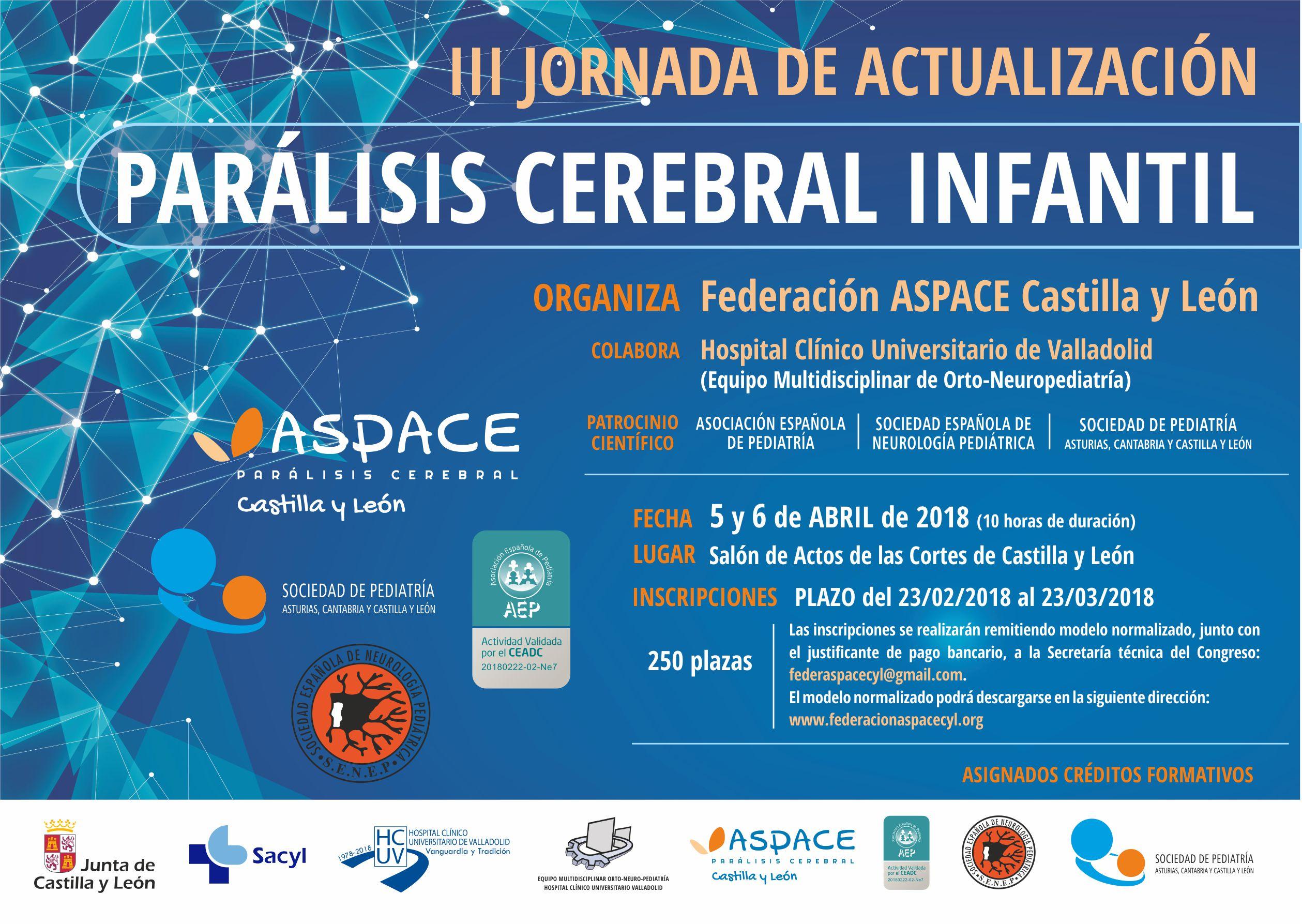 Abierto el plazo de inscripción para las III Jornadas de Actualización Parálisis Cerebral Infantil