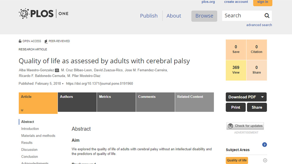 Quality of life as assessed by adults with cerebral palsy
