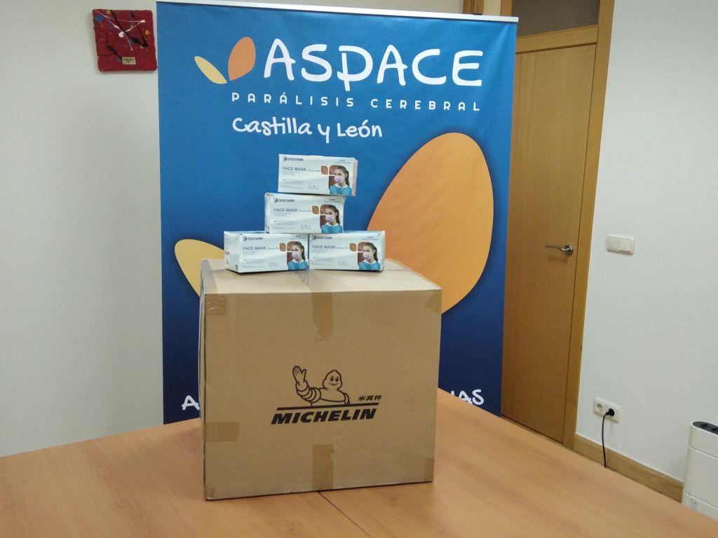 Michelín dona a ASPACE Castilla y León material de protección frente al COVID 19